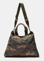Valentino Men's Camouflage Canvas Tote Bag In Khaki