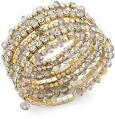 INC International Concepts Gold-Tone Black and Metal Bead Coil Bracelet, Created for Macy's