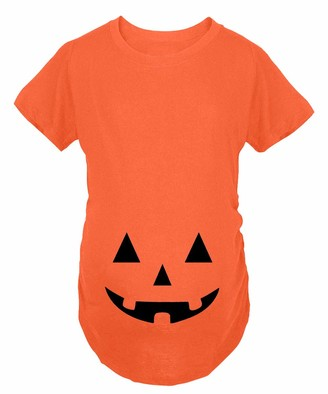 For G and PL Halloween Women Funny Graphic Pregnancy Tops Maternity Short Sleeve T Shirt Orange Pumpkin Carved Face XXL