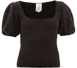 JoosTricot Beaded Puff-sleeve Mohair-blend Sweater - Black