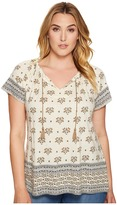 Lucky Brand Plus Size Border Print Top Women's Short Sleeve Pullover