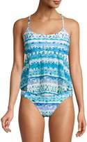 No Boundaries Juniors' Wave Pool Printed Tankini Swimsuit Top