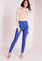 Missguided Petite HighWaisted Tube Jeans Brady Blue