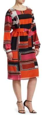 Marina Rinaldi Marina Rinaldi, Plus Size Geometric Silk Crepe Dress