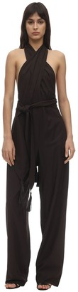 Salvatore Ferragamo Stretch Combed Wool Jumpsuit W/ Belt