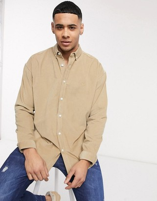 New Look long sleeve oversized cord shirt in stone