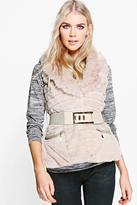Boohoo Amber Faux Fur Belted Gilet