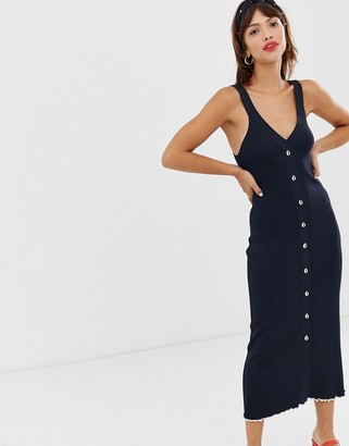 And other stories & knit midi dress with faux shell buttons in navy