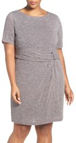 Ellen Tracy Plus Size Women's Buckle Detail Knit Sheath Dress