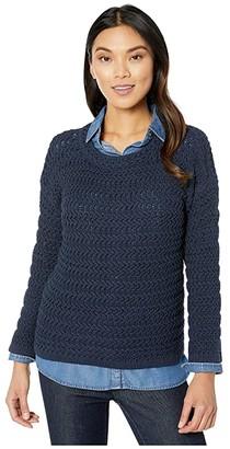 Elliott Lauren Stitch Fix Textured Stitch Open Crew Neck Sweater (Navy) Women's Clothing