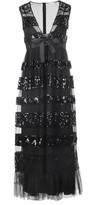 RED Valentino Long V Neck Tulle Paillettes