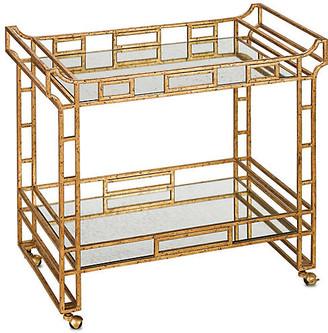 Currey & Company Odeon Bar Cart - Seneca Gold Leaf/Antique Mirror