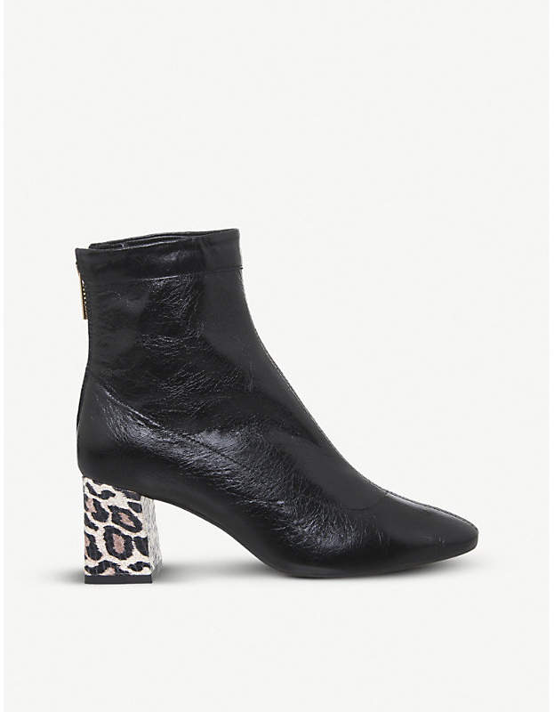 3e9ffcc3b52 Leopard-print patent-leather ankle boots