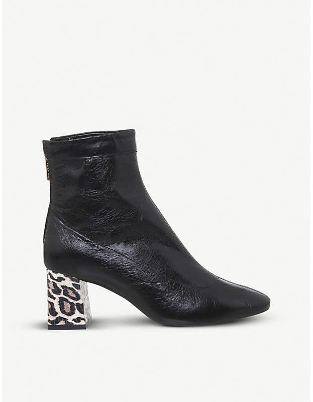 694b793f7347 Black Block Heel Ankle Boots Patent - ShopStyle UK
