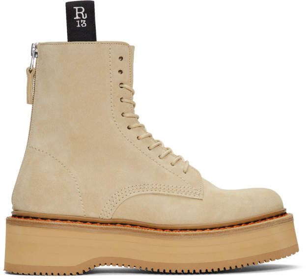 R 13 Tan Suede Single Stack Boots