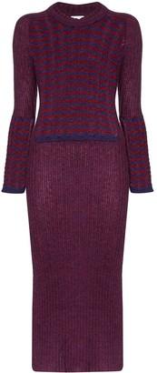 ASAI Striped Panel Knit Dress