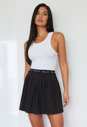Missguided Black Script Pleated Tennis Skirt
