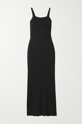 Skin Zenia Ribbed Pima Cotton-jersey Nightdress - Black