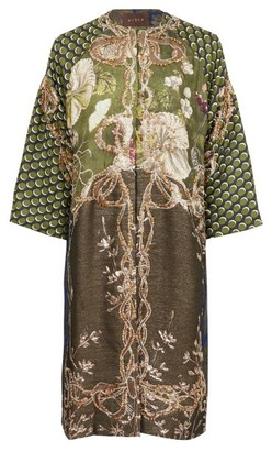 Biyan Ruvia Beaded Silk-blend Coat - Green Multi