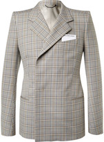 Balenciaga - Beige Double-breasted Checked Cotton Suit Jacket