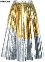 No.21 metallic pleated skirt
