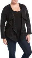 P. Luca Plus Faux-Leather Striped Drape-Front Jacket, Plus Size