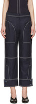 Stella McCartney Navy Buttoned Cuff Stitching Trousers