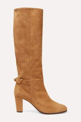 Alexandre Birman Rachel Bow-embellished Suede Knee Boots - Tan