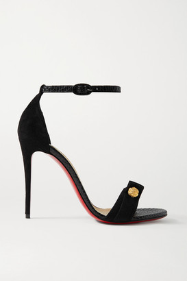 Christian Louboutin Stanisandal 100 Suede And Lizard-effect Leather Sandals - Black