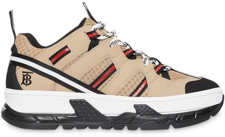 Burberry Monogram Motif Mesh and Leather Sneakers