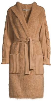 Max Mara Wool & Cashmere Cable-Knit Wrap Cardigan