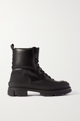 Ganni Leather And Rubber Ankle Boots - Black