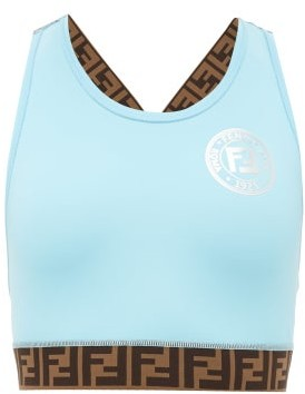 Fendi Ff-logo Stripe Performance Sports Bra - Light Blue
