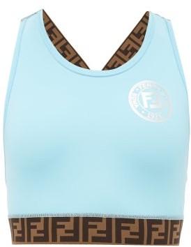 Fendi Ff-logo Stripe Performance Sports Bra - Womens - Light Blue