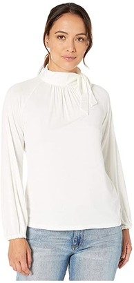 Lauren Ralph Lauren Petite Tie Neck Jersey Top (Pale Cream) Women's Clothing