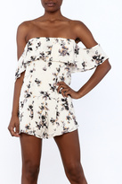 Honey Punch Beige Floral Romper