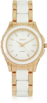 DKNY Brooklyn White Ceramic and Rose Golden Stainless Steel Women's Watch