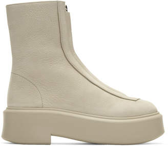 The Row Beige Zipped Boots