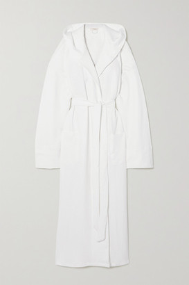 Eberjey Zen Hooded Belted Quilted Cotton Robe - White