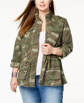 INC International Concepts I.N.C. Plus Size Cotton Camouflage Jacket, Created for Macy's