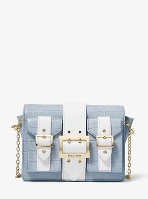 MICHAEL Michael Kors Hayden Medium Two-Tone Crocodile Embossed Leather Messenger Bag
