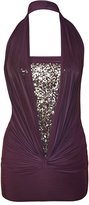 ZJ Clothes Ladies Sequin Halter Neck Ruched Boob Tube Womens Stretch Sleeveless Top
