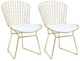 Critchlow Metal Slat Back Side Chair in Gold (Set of 2) Mercer41