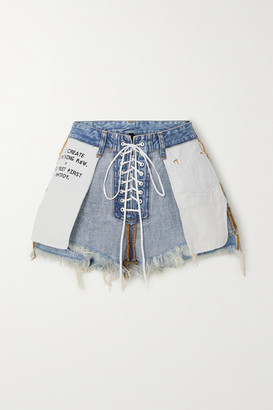 Unravel Project Lace-up Printed Frayed Denim Shorts - Blue