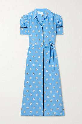 Jason Wu Belted Floral-print Silk Crepe De Chine Midi Shirt Dress - Blue