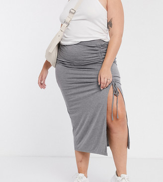 Simply Be ruched split maxi skirt in grey