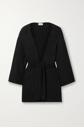 Leset Lori Oversized Belted Brushed Stretch-jersey Cardigan - Black