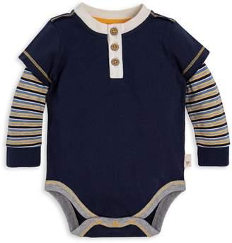 Burt's Bees Mini Multi Stripe Organic Baby Henley 2Fer Bodysuit