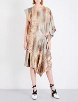 J.W.Anderson Aztec metallic-jacquard midi dress