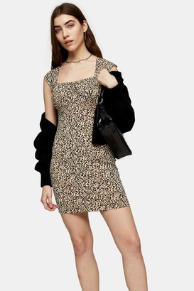 Topshop Womens Leopard Print Bodycon Jersey Mini Dress - Multi